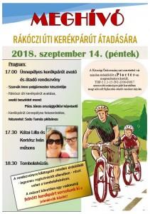 Meghívó kerékpárút átadó rendezvényre 09.14.